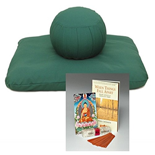 Beginner's Zafu Meditation Set (in green) with Chögyam Trungpa Book by Samadhi Cushions (Eco-Friendly Materials)