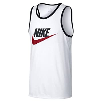 Nike 779234-102 Débardeur Homme, Blanc/Noir/Rouge Université, FR :