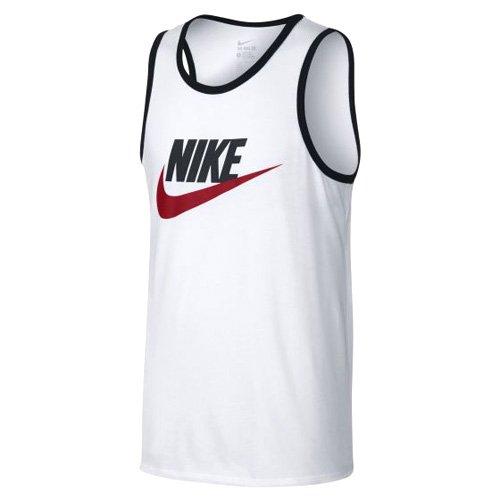 NIKE Mens Ace Logo Tank Top White/Black/University Red 779234-102 Size Medium - White Logo Tank