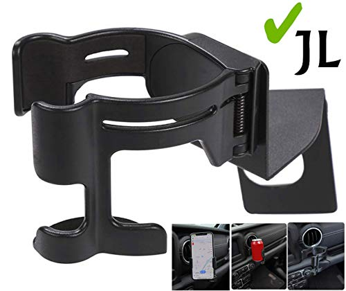 AUFER Mobile Phone/Water Cup Bottle 2 in 1 Bolt-on Mount Stand Holder for Jeep Wrangler JL Sport Sports Sahara & JL Rubicon Moab