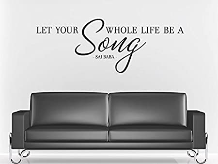 Pared Adhesivo Let Your Whole Life Be A Song. – SAI Baba, rosa, 60x22cm: Amazon.es: Hogar