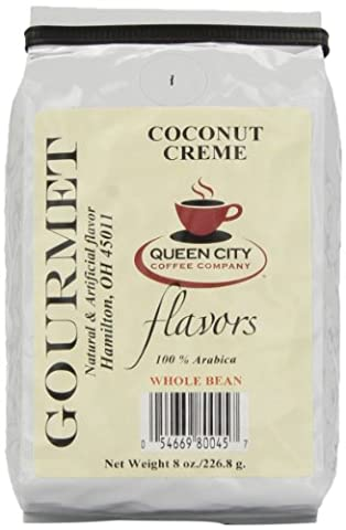 Queen City Coconut Creme Flavored Whole Bean Coffee, 8-Ounce Bags (Pack of 3) - Tahitian Whole Bean Coffee