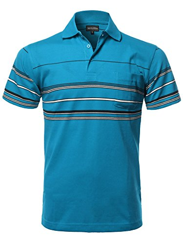 Style by William Casual Comfortable Basic Striped Chest Pocket Short Sleeve Polo T-Shirt M