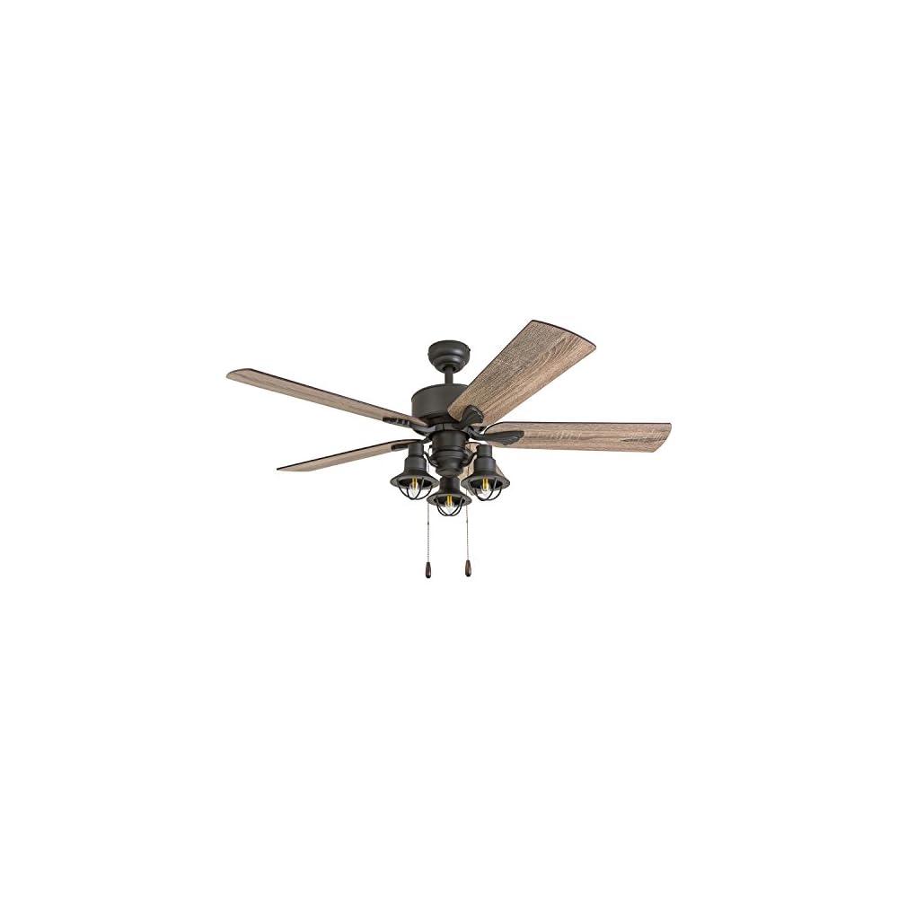"Prominence Home 50651-01 Sivan Farmhouse Ceiling Fan, 52"", Barnwood/Tumbleweed, Aged Bronze"