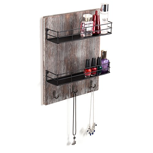 MyGift Wall-Mounted Rustic Torched Wood Spice Rack with 3 Utensil Hooks by MyGift (Image #3)'