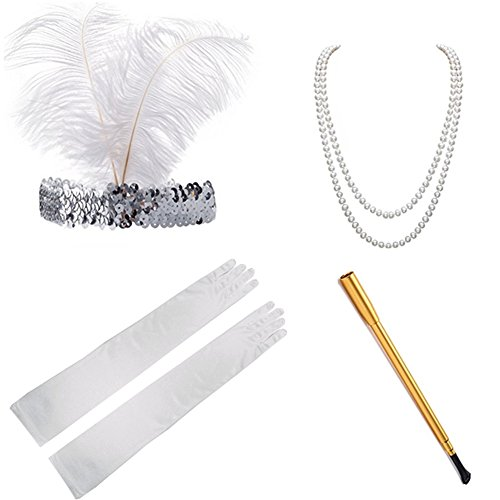 Biglion 1920s Accessories Flapper Costomes White Feather Headband Pearl Necklace Gloves Gold Cigarette Holder Fancy (Gold Fancy Pearl)