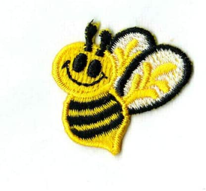 """Bees Small Yellow White /& Black Insects Iron On Embroidered Patch 1 1//8/"""""""