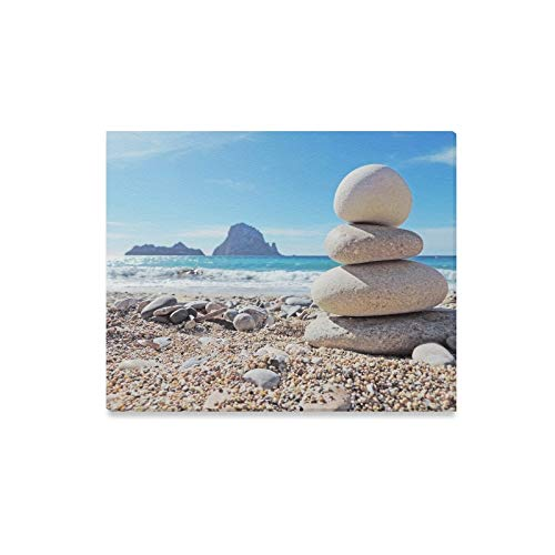 XINGCHENSS Wall Art Painting Balanced Stones On Beach Cala D Hort Prints On Canvas The Picture Landscape Pictures Oil for Home Modern Decoration Print Decor for Living Room ()