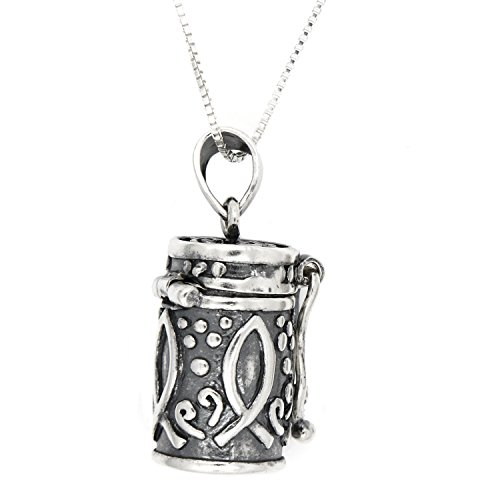 Tube Round Pendant (Sterling Silver Antique Filigree Round Tube Style Prayer Box Pendant Necklace (18 Inches))