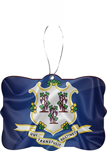 Rikki Knight RKWS-SQORN-2680 Connecticut State Flag Christmas Tree Ornament (Flag State Connecticut)