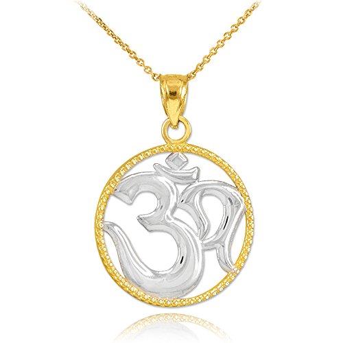 14k Two-Tone Gold Round Milgrain-Edged Yoga Medallion Om Charm Pendant Necklace, 16