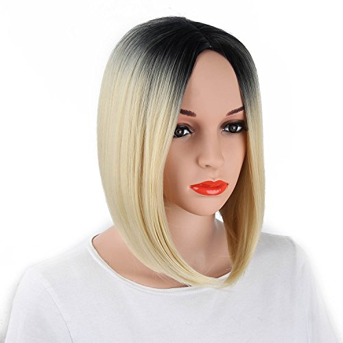 netgo Fashion Ombre Wig Short straight Heat Resistant Synthetic Bob Hair Wig for Women (Ombre Blonde)