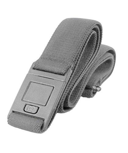 Beltaway Flat Buckle Belt-SQUARE Buckle Design, Adjustable Stretch Invisible Belt (One Size (0-14), Gray) (Square Buckle Belt)