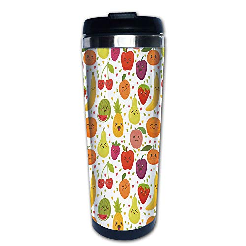 Stainless Steel Insulated Coffee Travel Mug,Happy Apricot Peach Hearts Lemons Kids Nursery,Spill Proof Flip Lid Insulated Coffee cup Keeps Hot or Cold 13.6oz(400 ml) Customizable printing