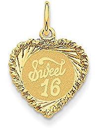 14K Sweet Sixteen Heart Charm