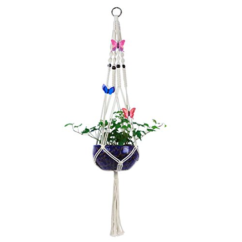 - GemEwell Handmade Macrame Plant Hanger Hanging Planters Basket Cotton Rope Wall Art Indoor Outdoor Home Decor 4 Legs with Artificial Butterflies(41 Inch, with beads & tassel)