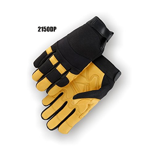 (12 Pair) Majestic GOLD DEERSKIN DOUBLE PALM GLOVES WITH KNIT BACK - 2X LARGE, GOLD(2150DP/12)