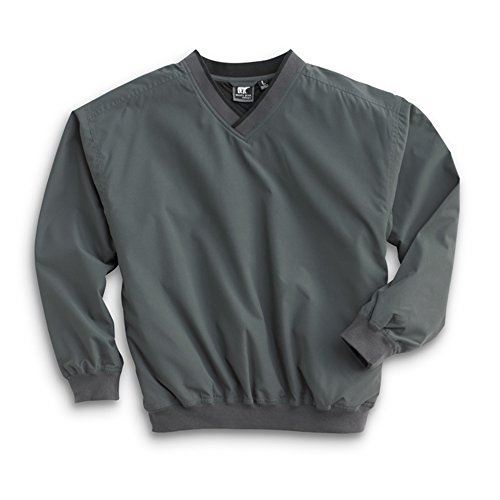 (Men's Fully Lined V-Neck Golf and Wind Shirt - Charcoal Grey/Black, Large)