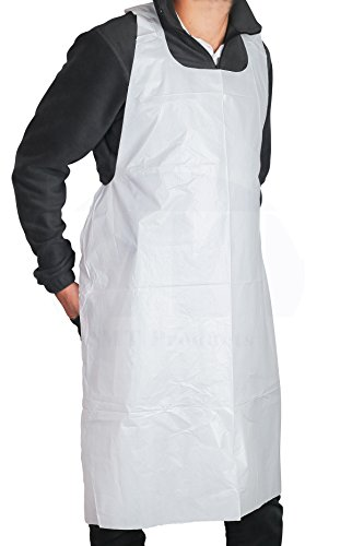 - MT Products 46 inches x 28 inches Disposable White Heavy Weight Plastic/Poly Apron - 2 Mil (50 Pieces)