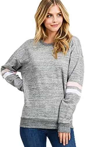 esstive Women's Ultra Soft Fleece Solid Taping Crew Neck Sweatshirt