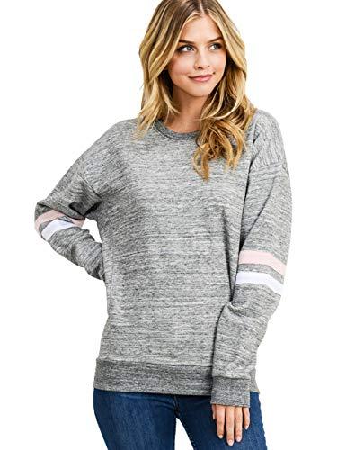esstive Women's Ultra Soft Fleece Lightweight Casual Active Wear Thin Crew Neck Sweatshirt