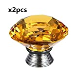 2 PCS 40mm Yellow Crystal Glass Diamond Cut Flat Round Door Knob for Wardrobe,Cabinet, Drawer, Chest, Bin, Dresser, Cupboard, Etc with Screw Set Home Decoration