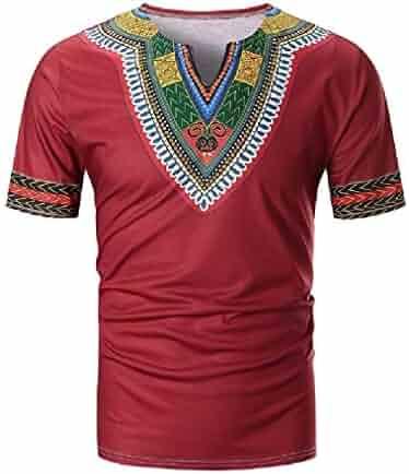 58954c7e9 Vska Mens Ethnic Style African Short Sleeve Floral Printing V-Neck Dashiki  Tees