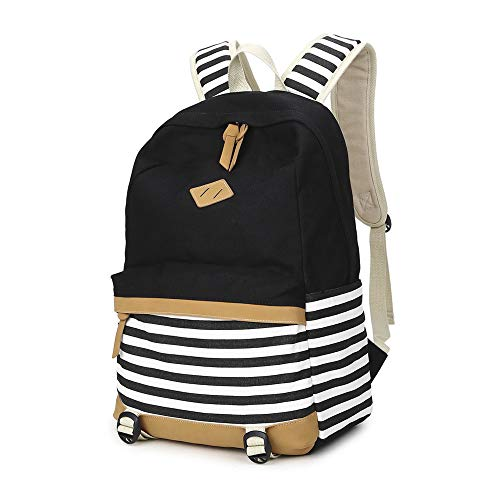 JIUMUWANG Girls Canvas School Backpack Bookbag College Laptop Backpack, Casual Travel Camping Daypack for Teen Girls Boys Men and Women