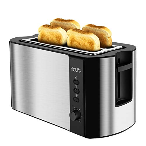 HoLife 4 Slice Long Slot Toaster Best Rated Prime, Stainless Steel Bread Toasters(Warming Rack, 6 Bread Shade Settings, Defrost/Reheat/Cancel Function, Extra Wide Slots, Removable Crumb Tray, 1500W)