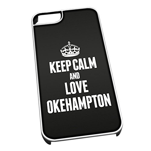 Bianco Cover per iPhone 5/5S 0468 Nero Keep Calm And Love Okehampton