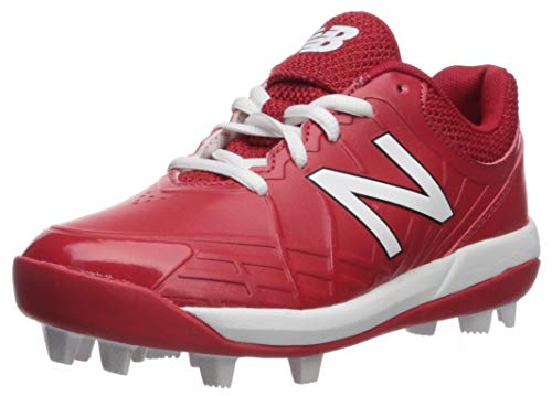New Balance Boys' 4040v5 Molded Baseball Shoe, RED/White, 6 M US Big Kid