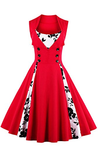 YMING Women's 50s Retro Audrey Hepburn Pinup Vintage Dress Sleeveless Rockabilly Dress Red - Mall Woodfield