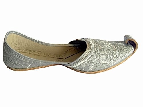 Scarpe Da Uomo Stile Step N Full Argento Zari Khussa Tradizionale Mocassino In Pelle Indiana Punjabi Jutti