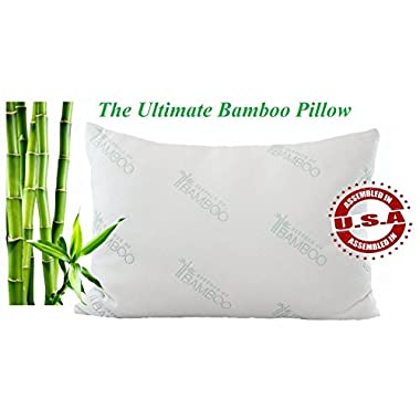 Ultimate Bamboo Pillow with Stay Cool Cover and USA Hypoallergenic Down Alternative Poly Fiber Fill