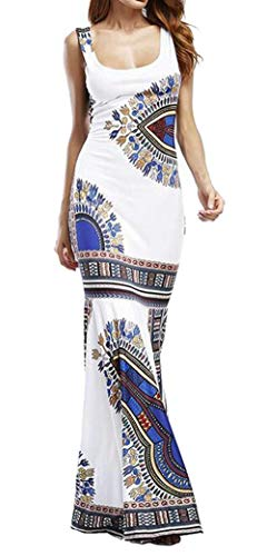 Haokan Ropa uninukoo-Femenina Unko Dashiki Africano Print Bodycon Cóctel Club Maxi Sundress (Color : White, tamaño : X-Small)