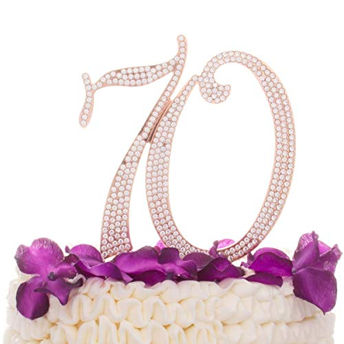 Ella Celebration 70 Cake Topper for 70th Birthday or Anniversary - Silver Rhinestone Metal Number Party Decoration (Rose -