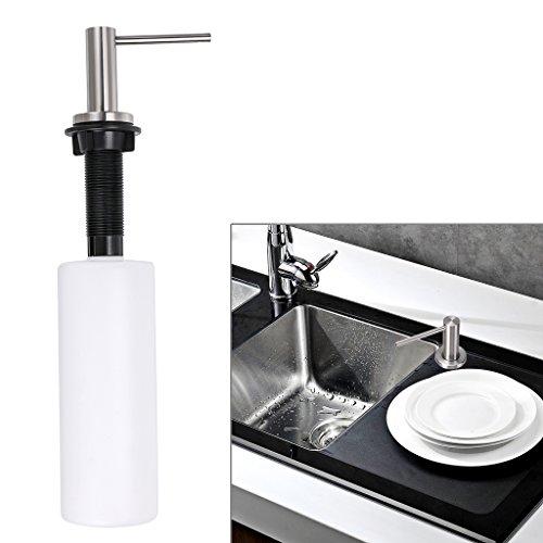 Kitchen Sink Soap Dispenser, Sumnacon Solid Heavy Modern Stainless Steel Countertop Liquid Dish Built in Hand Lotion Shampoo Deck Mount Dispenser Pump,17 OZ Bottle by Sumnacon