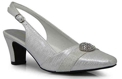 (Enzo Romeo cambria02 Women's Wide Width Sling Back Low Heeled Pointy Pumps Sandals Shoes (8.5 Wide US, White))