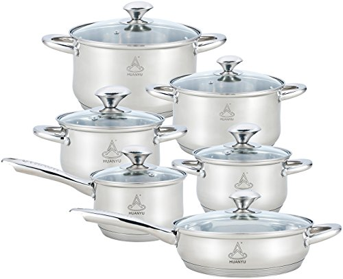 HUANYU Stainless Steel Cookware Set, 12 Piece