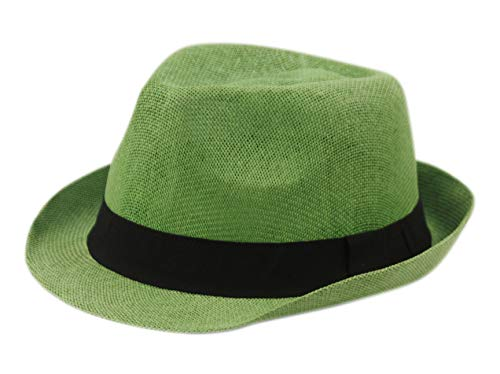 Epoch Unisex Basic Cool Lightweight Summer Derby Fedora Trilby Adjustable Hat (Lime Green) ()