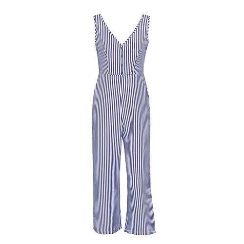 Free People Sparkle - Free-people V-Neck Stripe Women Jumpsuit Elegant Vest Button Female Jumpsuit Romper Summer Casual Wide Leg Beach,Blue,S
