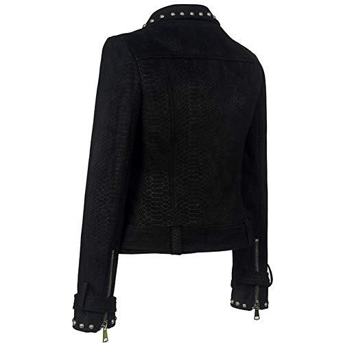 Locomotora Black Moda Mujer Imitación Cremallera Punk Cuero Solapa Sijux Remache Traje Chaqueta Abrigo q7nvwIIH