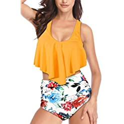 Heat Move Women Ruffled Flounce Top Bathing Suits High Waisted Bottom Bikini Two Piece Swimsuits