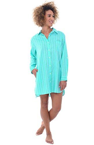 Alexander Del Rossa Womens Cotton Nightshirt, Boyfriend Style Woven Sleepshirt, Large Green Striped (Ladies Cotton Sleepshirts)