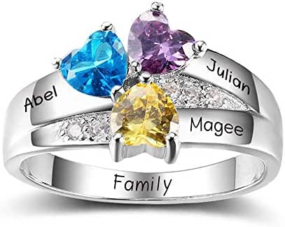 Diamondido Personalized Simulated Birthstone Mother Ring with Childrens Names Engraved Family Promise Gift for Mommy