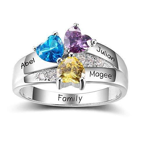 Diamondido Personalized Simulated Birthstone Mother Ring with Childrens Names Engraved Family Promise Gift for Mommy (10) (Mother Child Ring)
