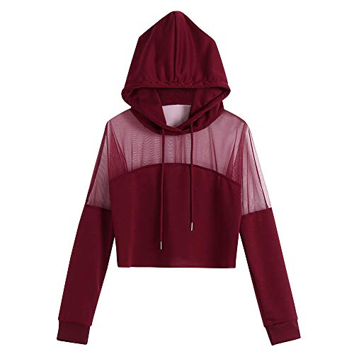 Women Hoodies Short Pullover Sweatshirt Long Sleeve Plus Size Mesh Hollow Patchwork Loose Blouse (Red, L)