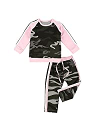 puseky Baby Girl Camouflage Long Sleeve Shirt+Pants Tracksuit Outfit Sports Suit