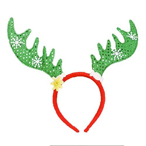 [Coerni Premium Christmas Glitter Reindeer Headband (Green)] (Teen Light Up Green Lantern Costumes)
