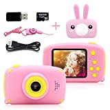 Toys for 3-6 Year Old Girls Joyjam Kids Camera HD 1080P Digital Camera for Kids Video Recorder Small Cameras with Cartoon Soft Cover Camcorder Best Gift for Children Party Outdoor Play Pink Rabbit